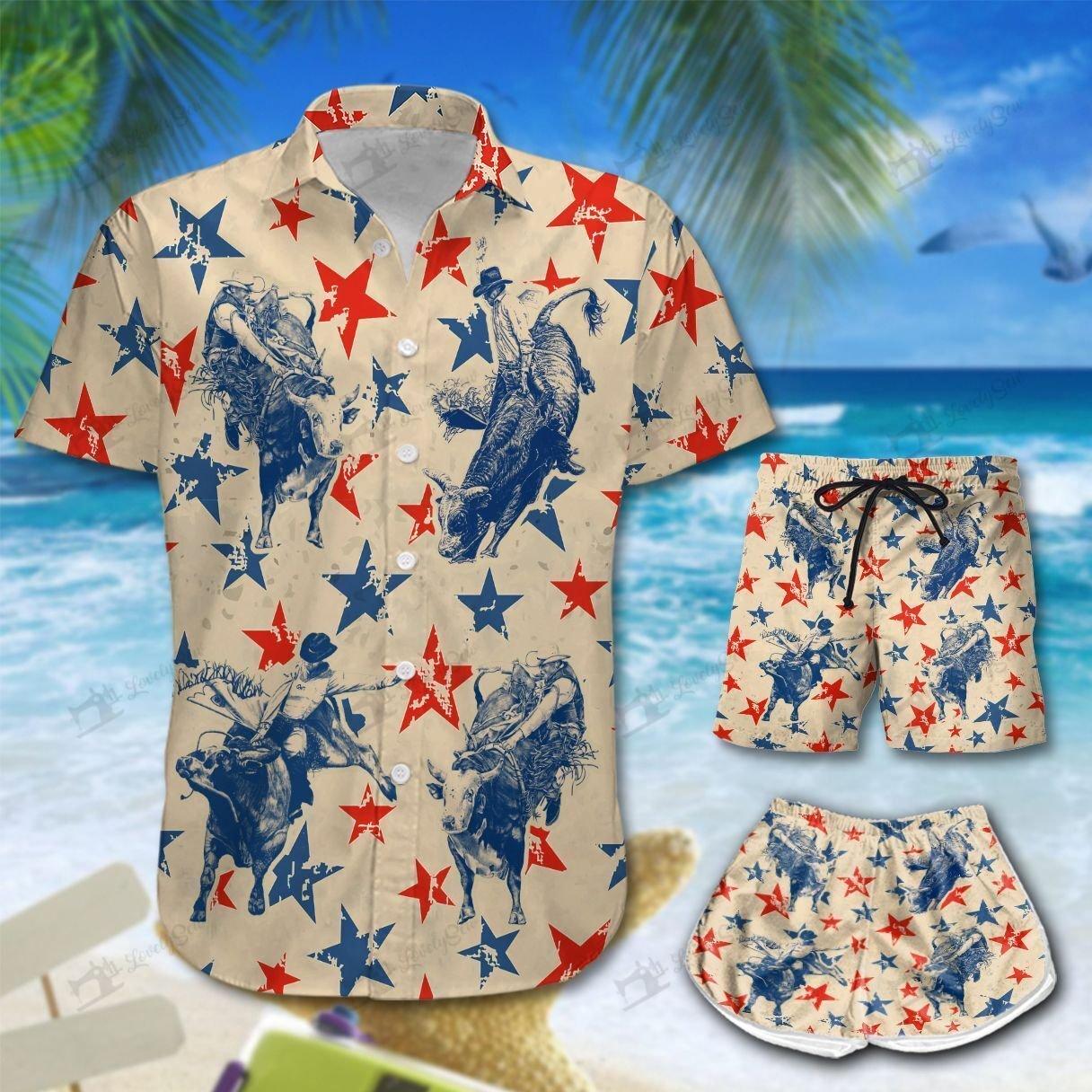America Bull riding Hawaiian Shirt Men-Women Shorts
