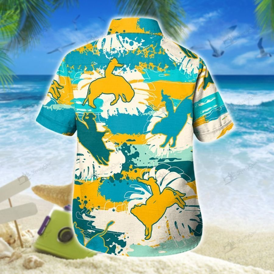 Bull Riding Hawaiian Tropical Flower Men-Women Shirt and Shorts