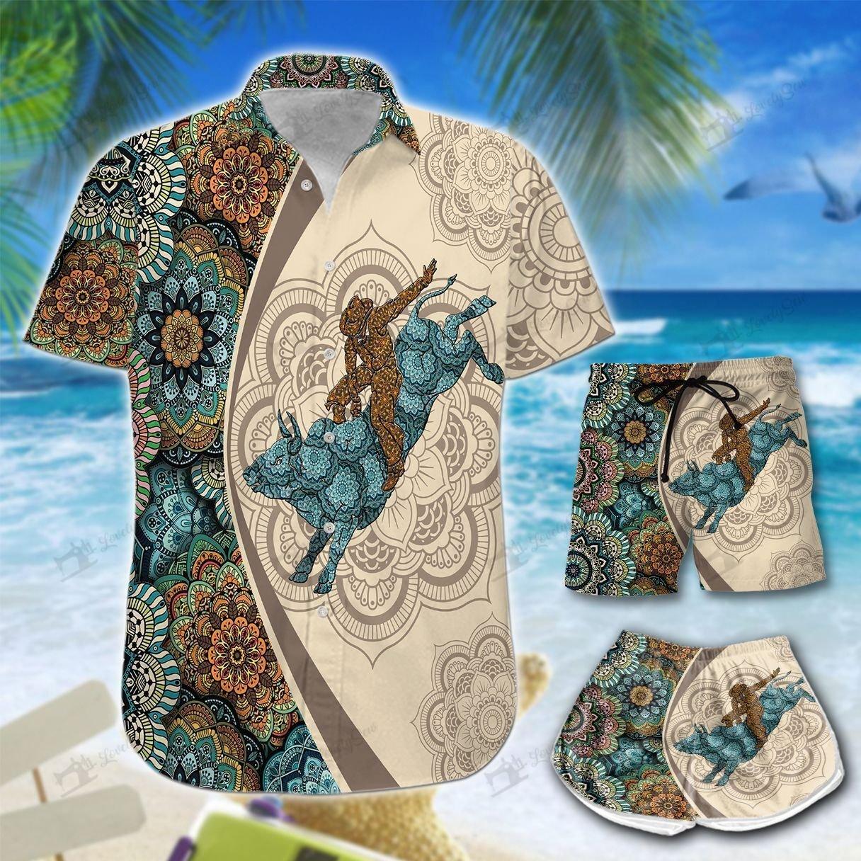 Bull Riding Mandala Hawaiian Men-Women Shirt and Shorts