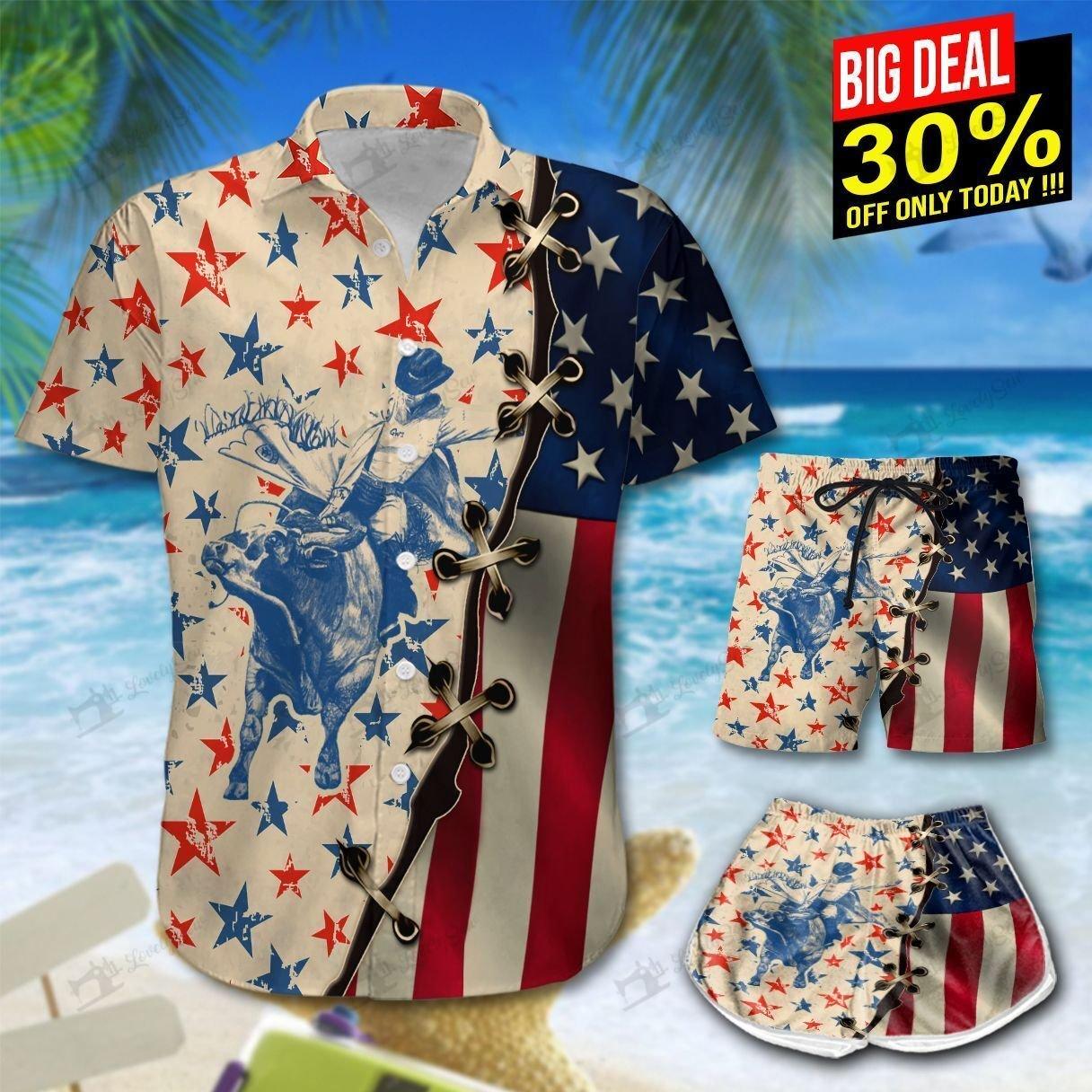 America Bull Riding Hawaiian Shirt and Shorts