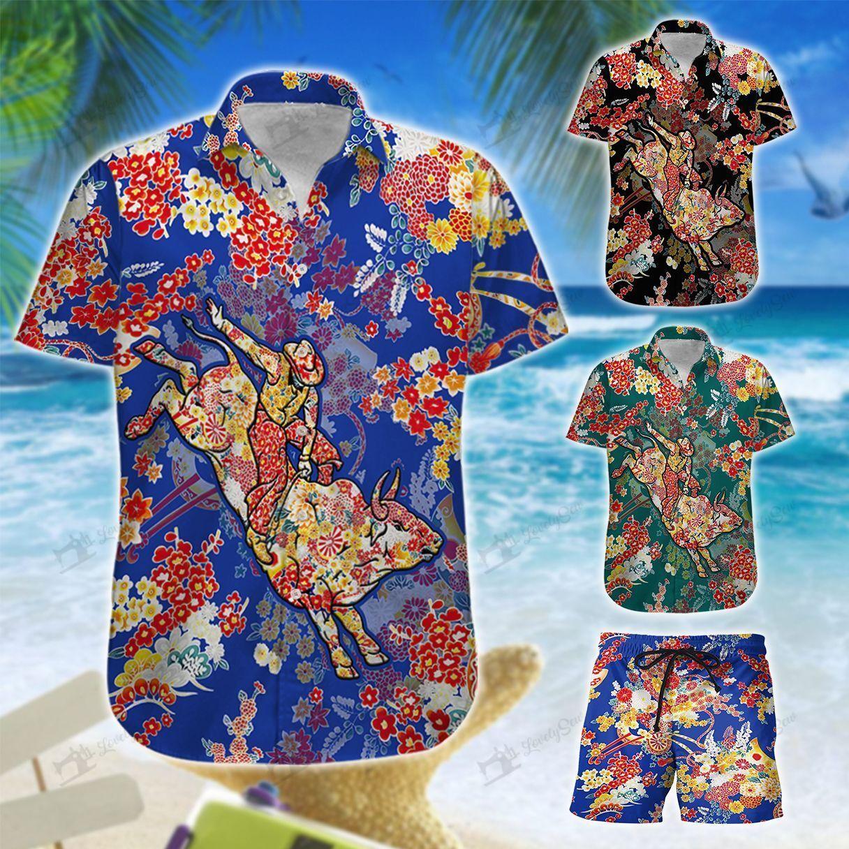 Bull Riding tiny flower Hawaiian Shirt and Shorts
