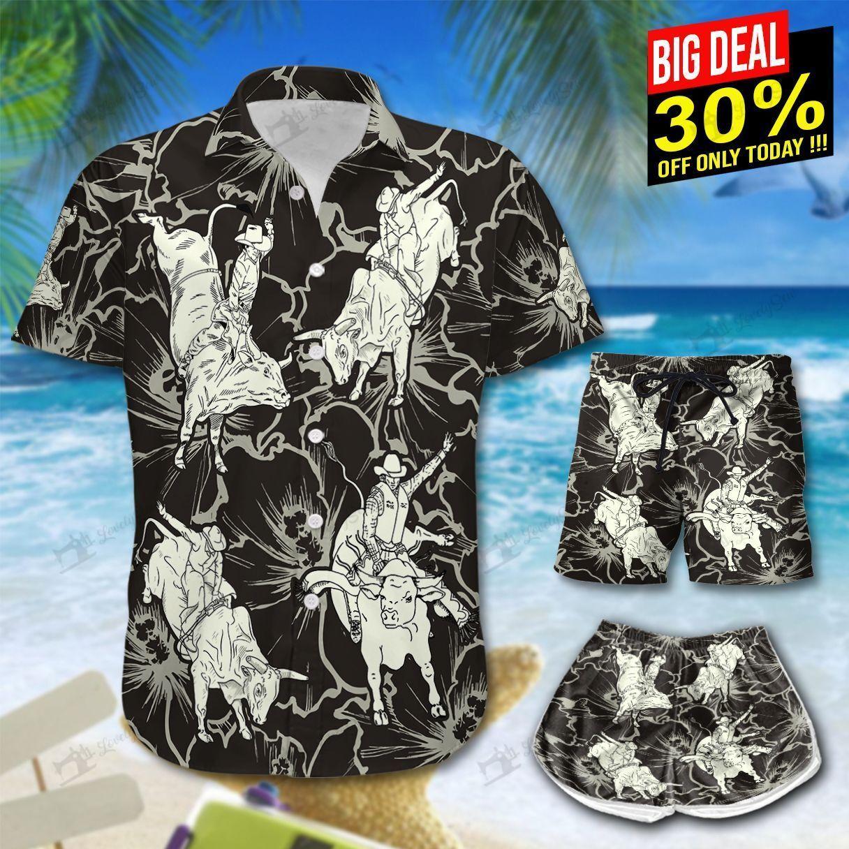 Bull Riding Hibiscus Hawaii Shirt and Shorts