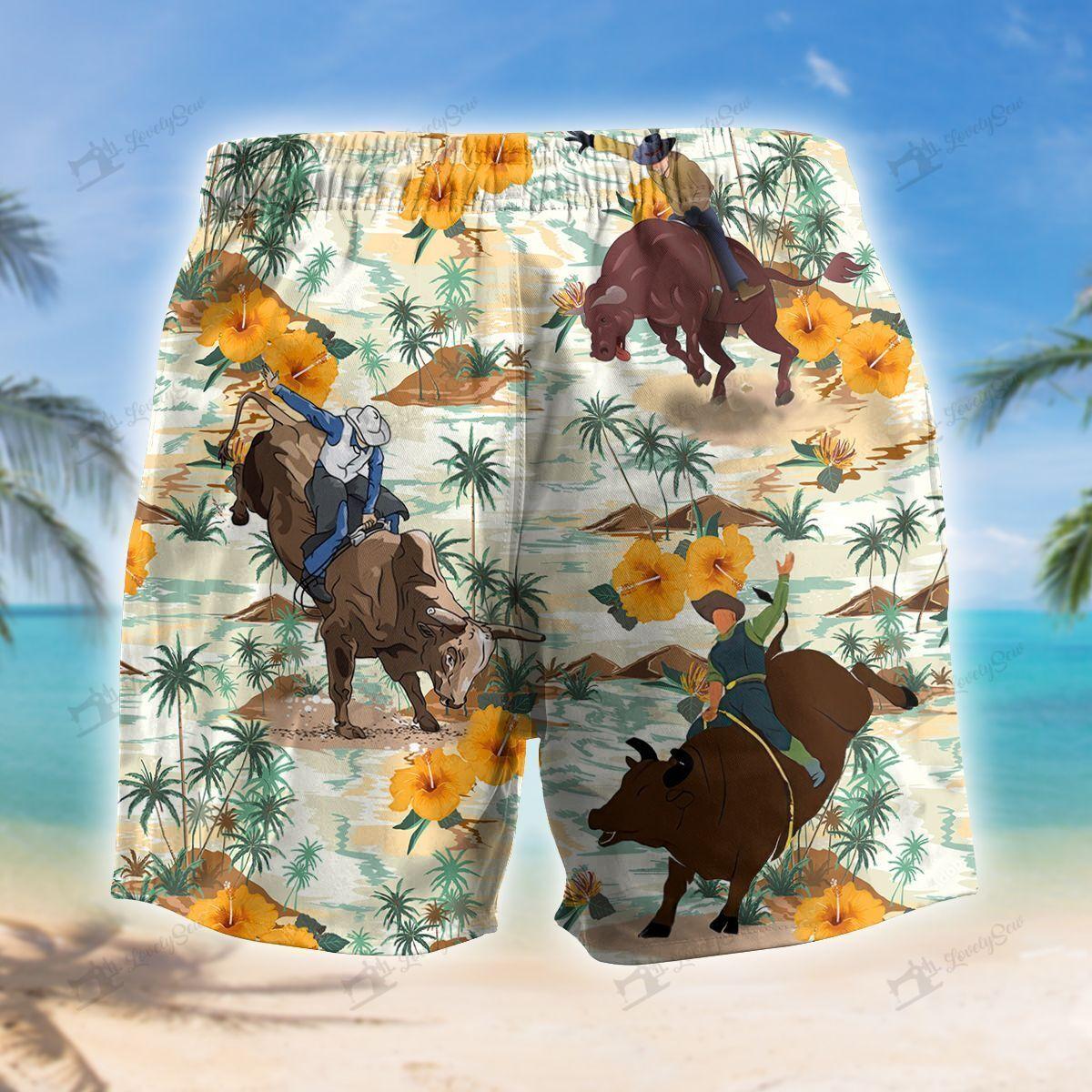 Bull Riding Beach Island Hawaiian Shirt and Shorts