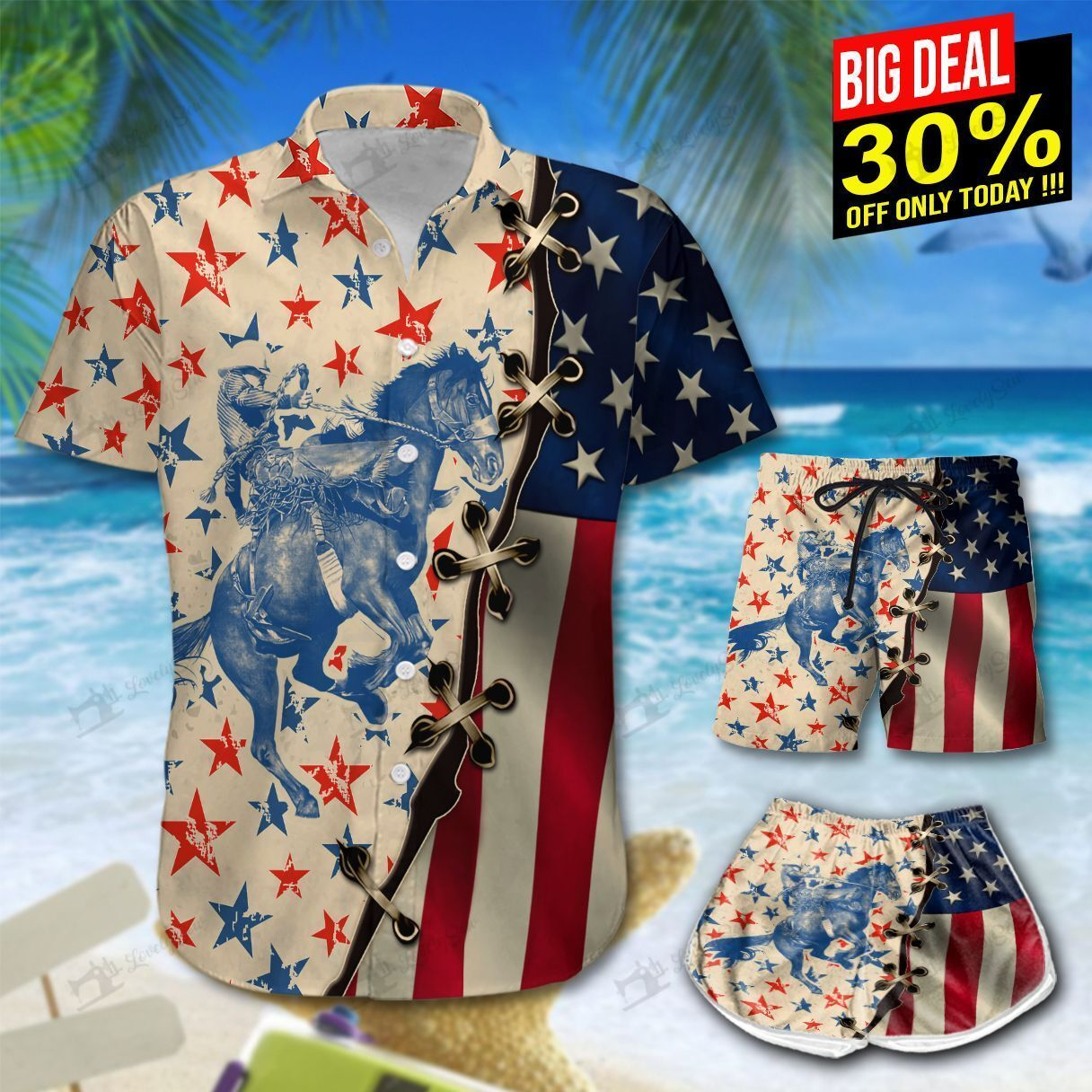 America Saddle Bronc Hawaiian Shirt and Shorts