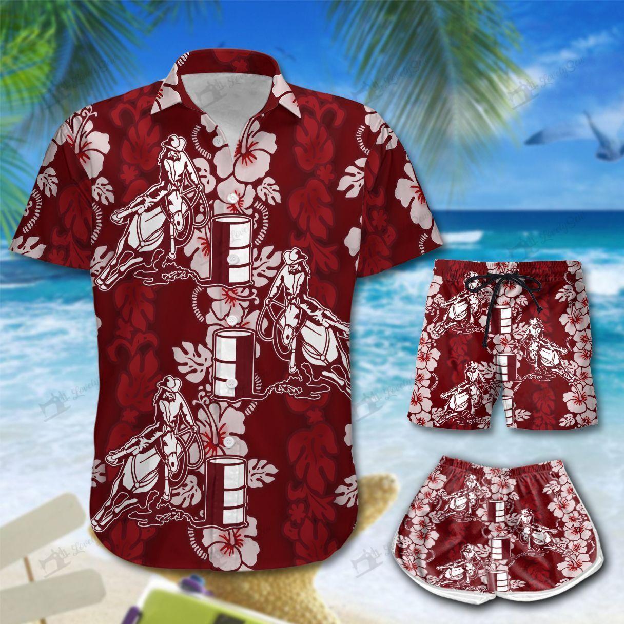 Barrel racing red Hawaii Shirt and Shorts