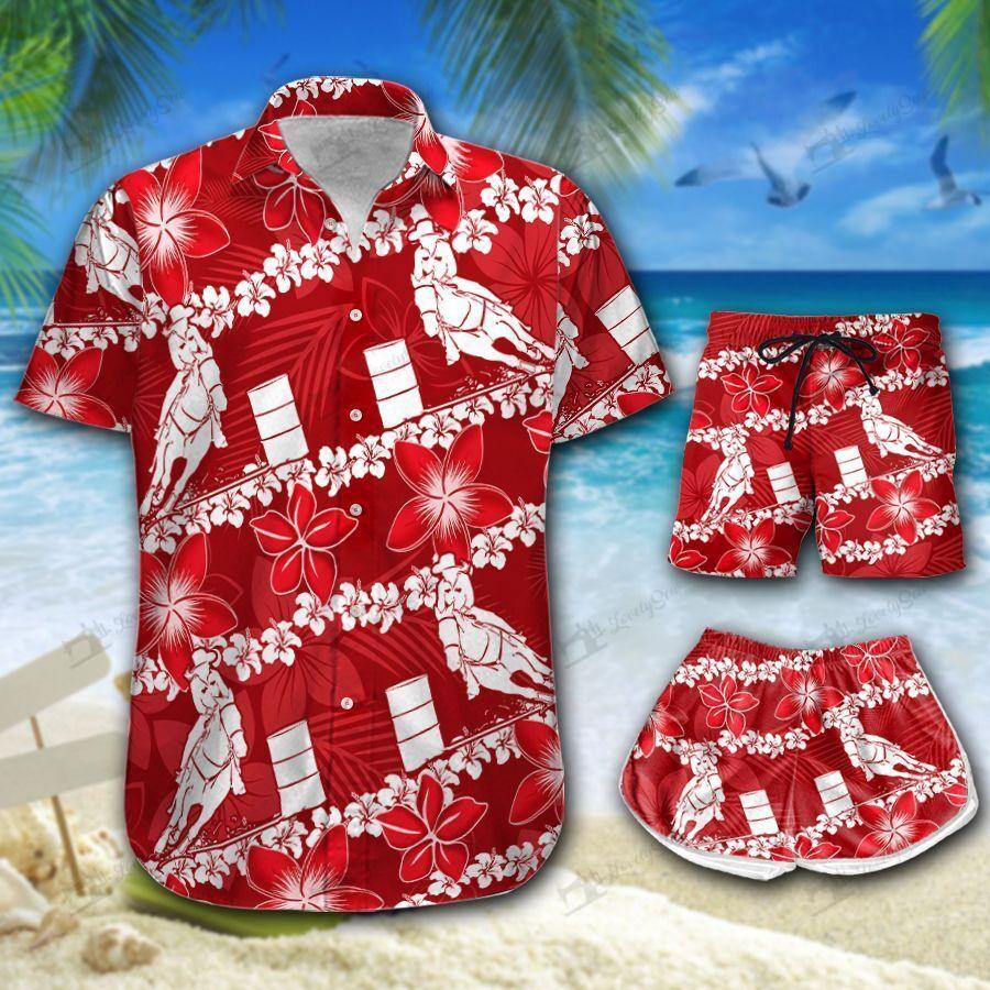 Barrel Racing Line Hawaiian Shirt and Men-Women Shorts