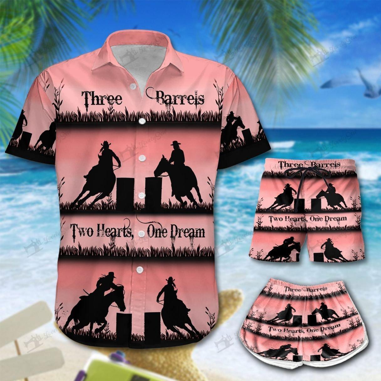 Three Barrel Two Heart One Dream Hawaiian Shirt and Men-Women Shorts