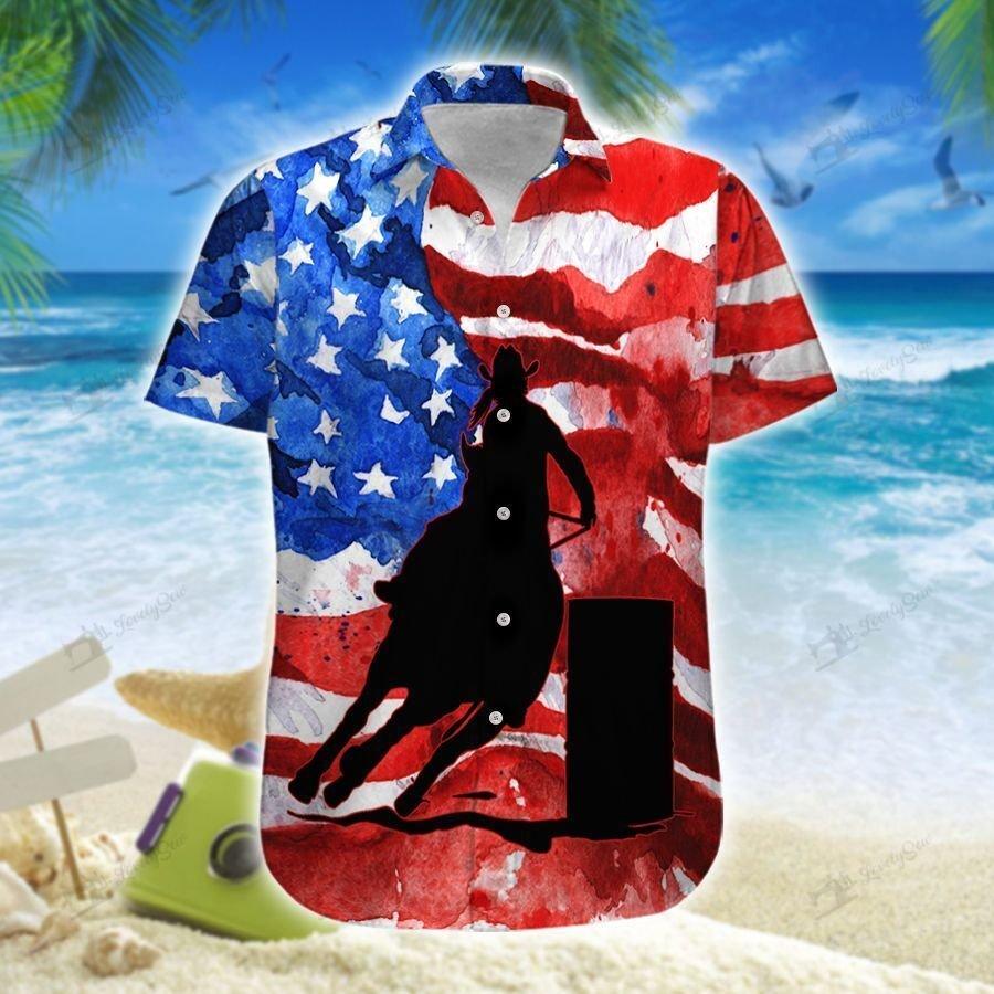 Barrel racing American water painting Hawaiian Shirt and Shorts