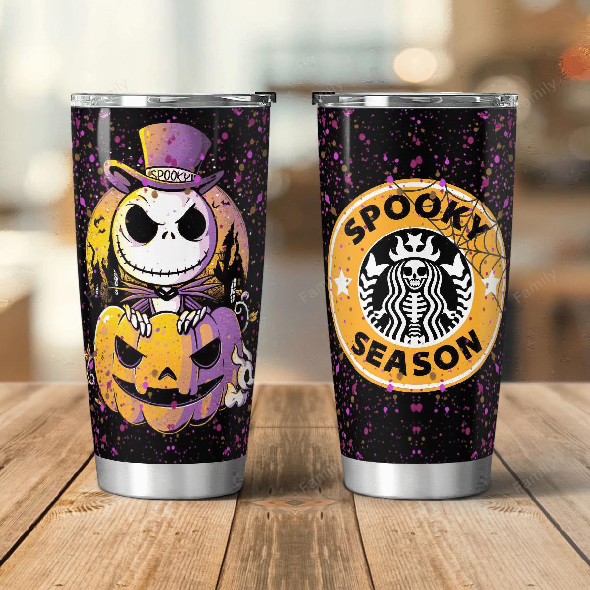 Spooky Season Skellington Pumpkin Tumbler