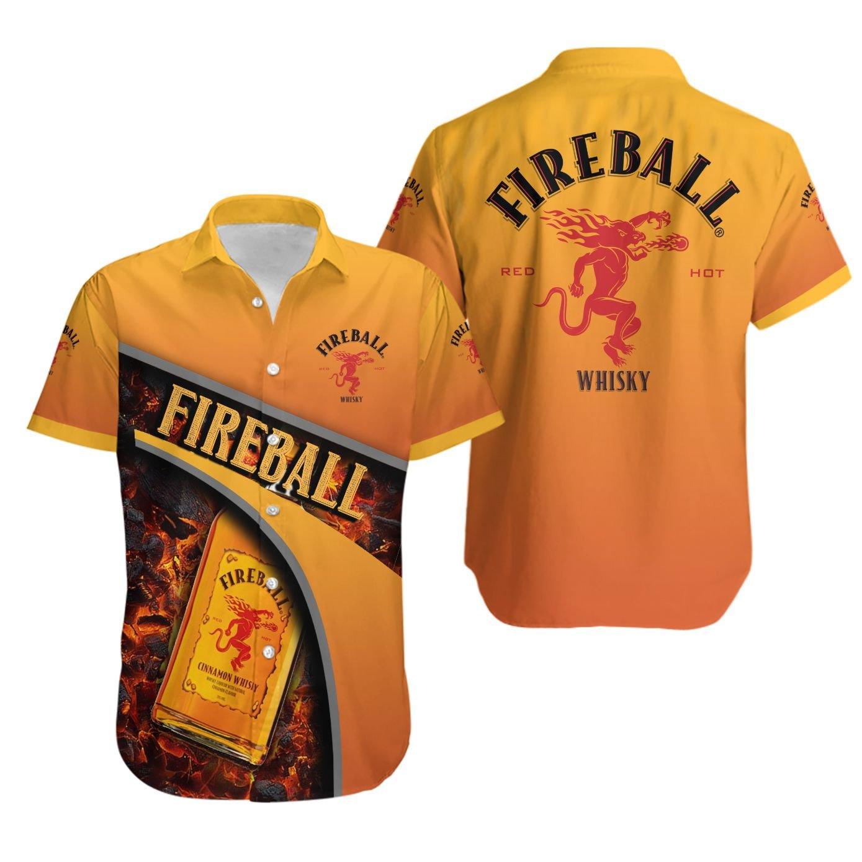 Fireball Whiskey Full Printed Hawaiian Shirt