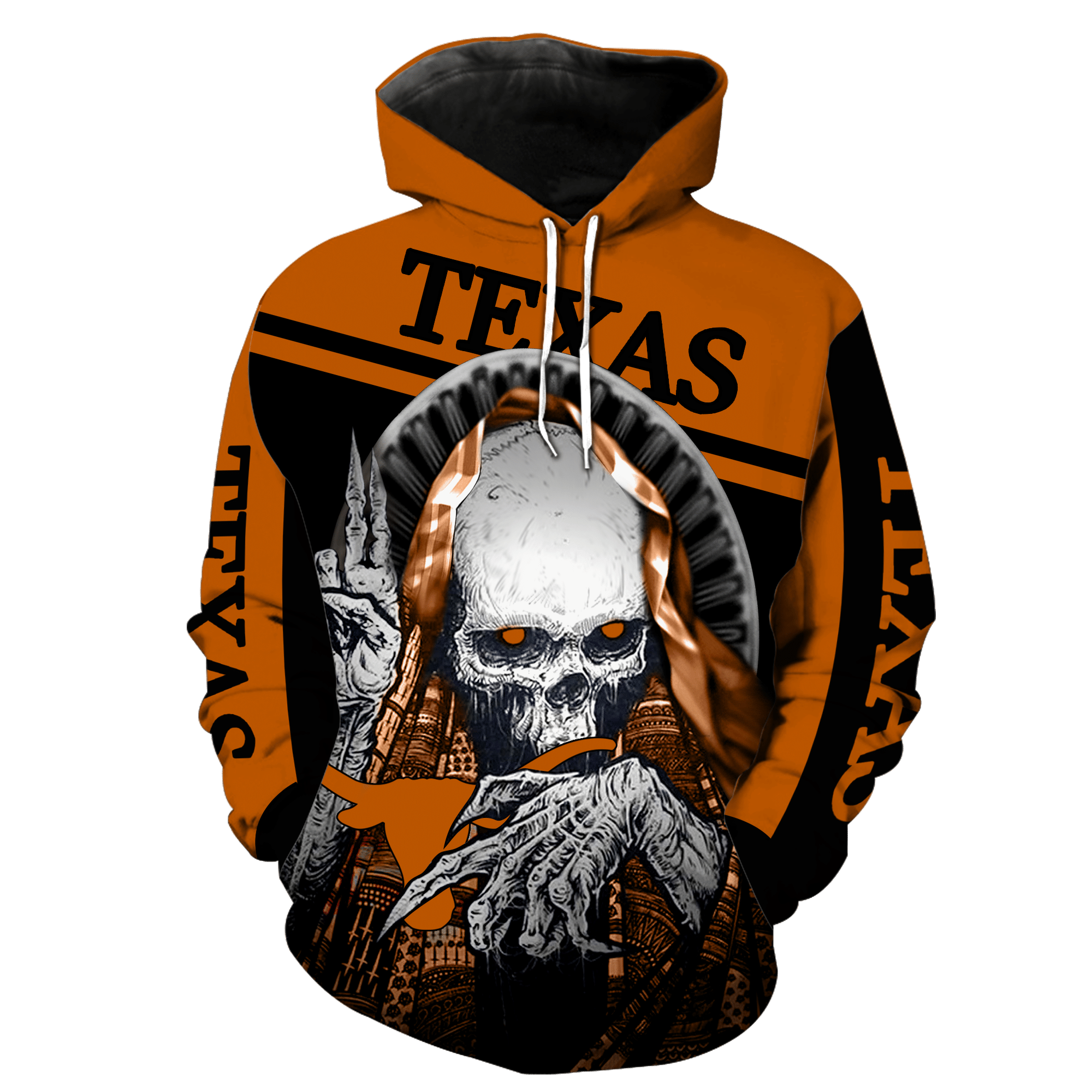 NCAA Texas Longhorns Skull Hoodie and T-shirt