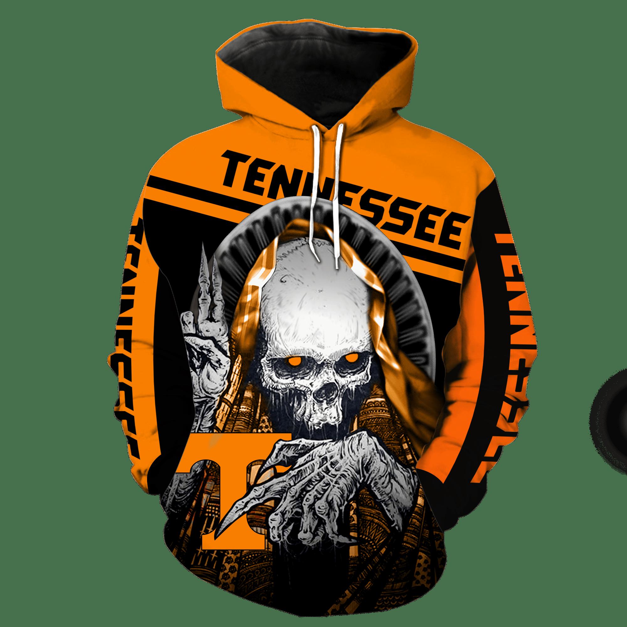 NCAA Tennessee Volunteers Skull Hoodie and T-shirt