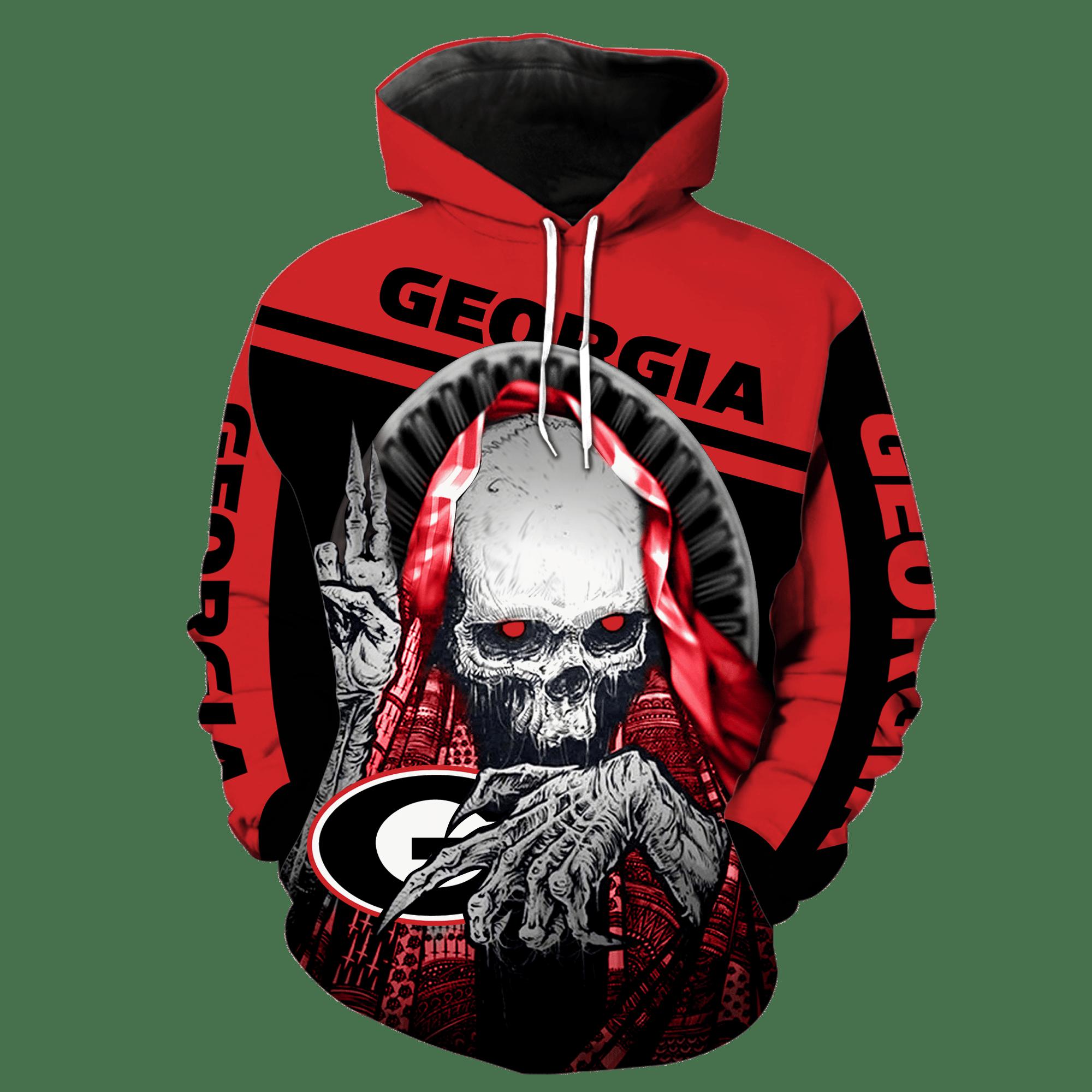NCAA Georgia Bulldogs Skull Hoodie and T-shirt