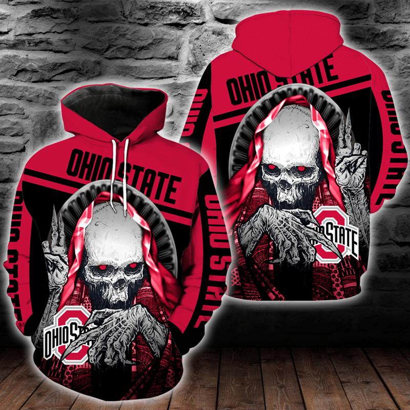 NCAA Ohio State Buckeyes Skull Hoodie and T-shirt