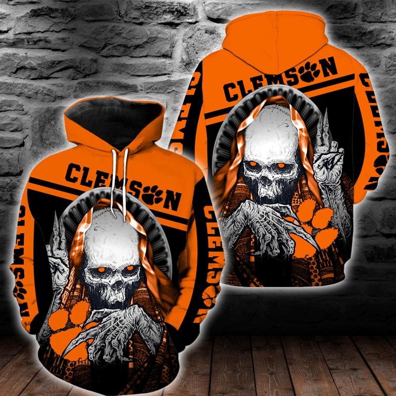 NCAA Clemson Tigers Skull Hoodie and T-shirt