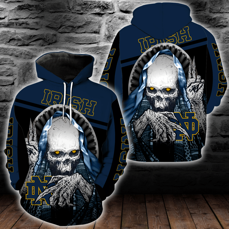 NCAA Notre Dame Fighting Irish Skull Hoodie and T-shirt