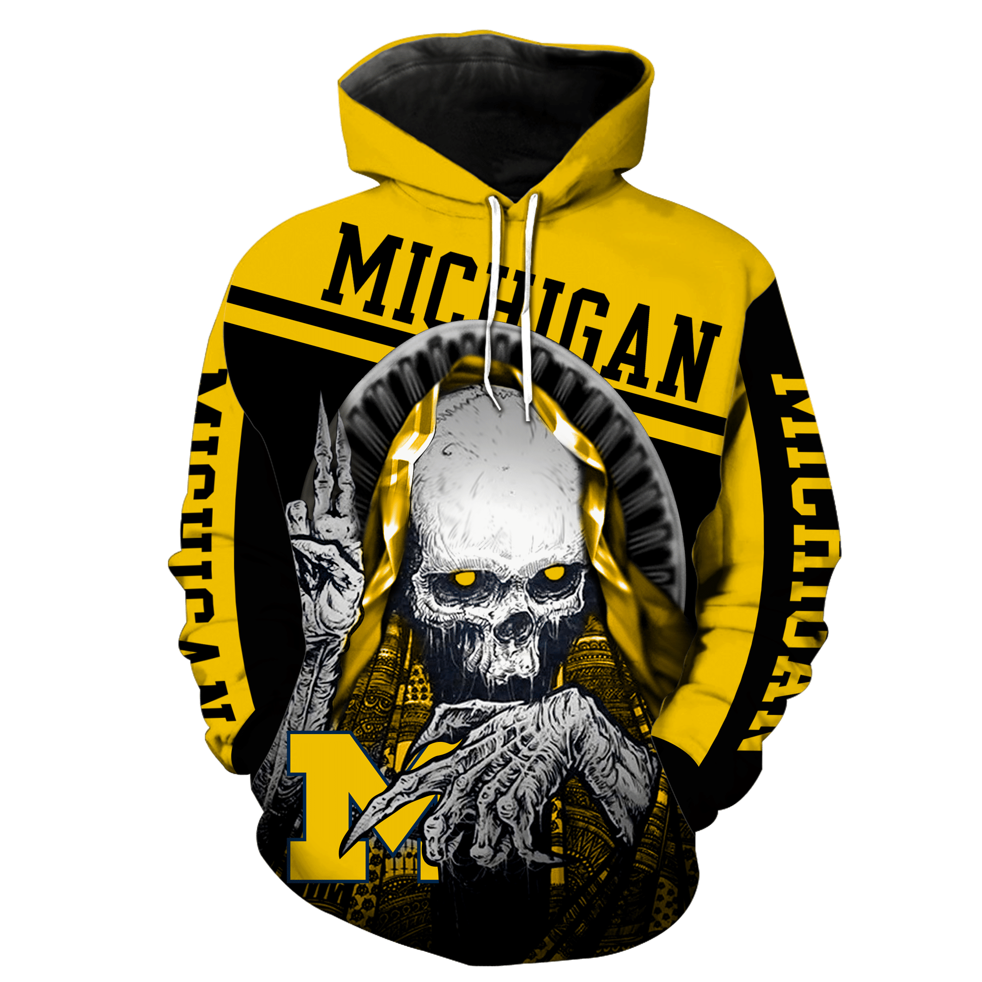 NCAA Michigan Wolverines Skull Hoodie and T-shirt