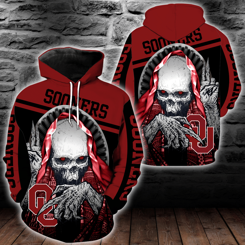 NCAA Oklahoma Sooners Skull Hoodie and T-shirt