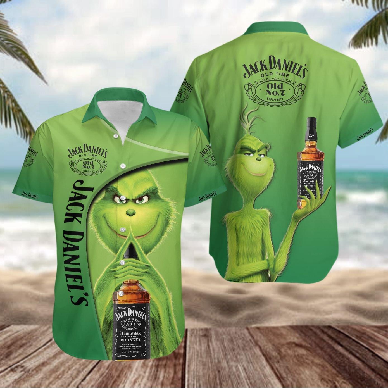 Jack Daniels Grinch Hawaiian Shirt Button Up Shirt