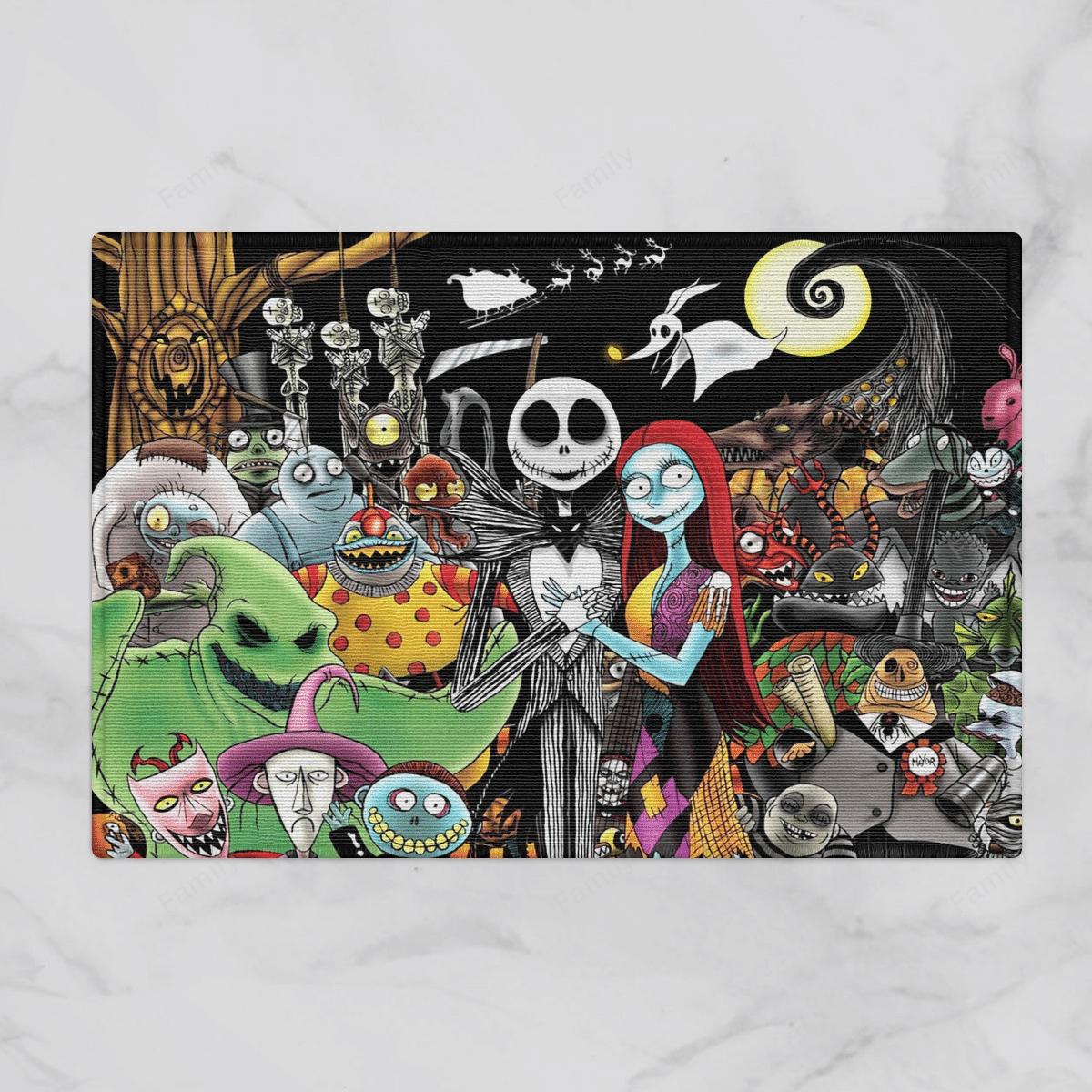 The Nightmare World Skellington couple Halloween Door Mat