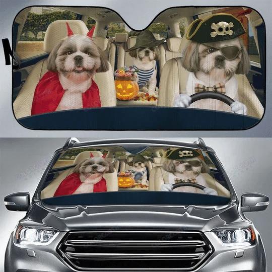 Shih Tzu Halloween Funny Car Sunshade