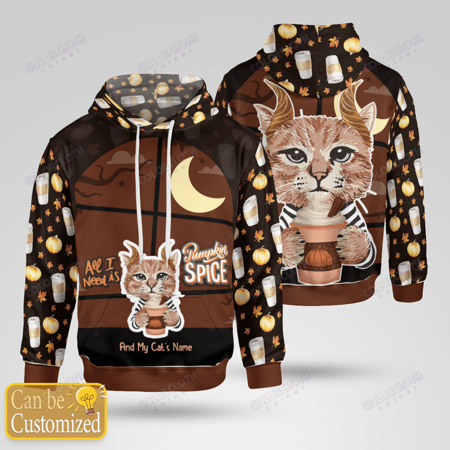 All I Need Is Pumpkin Spice and My cat Personalized Halloween Family hoodie sweatshirt