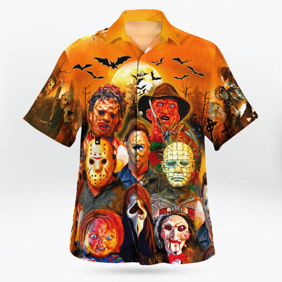 Horror Faces Halloween Hawaiian shirt