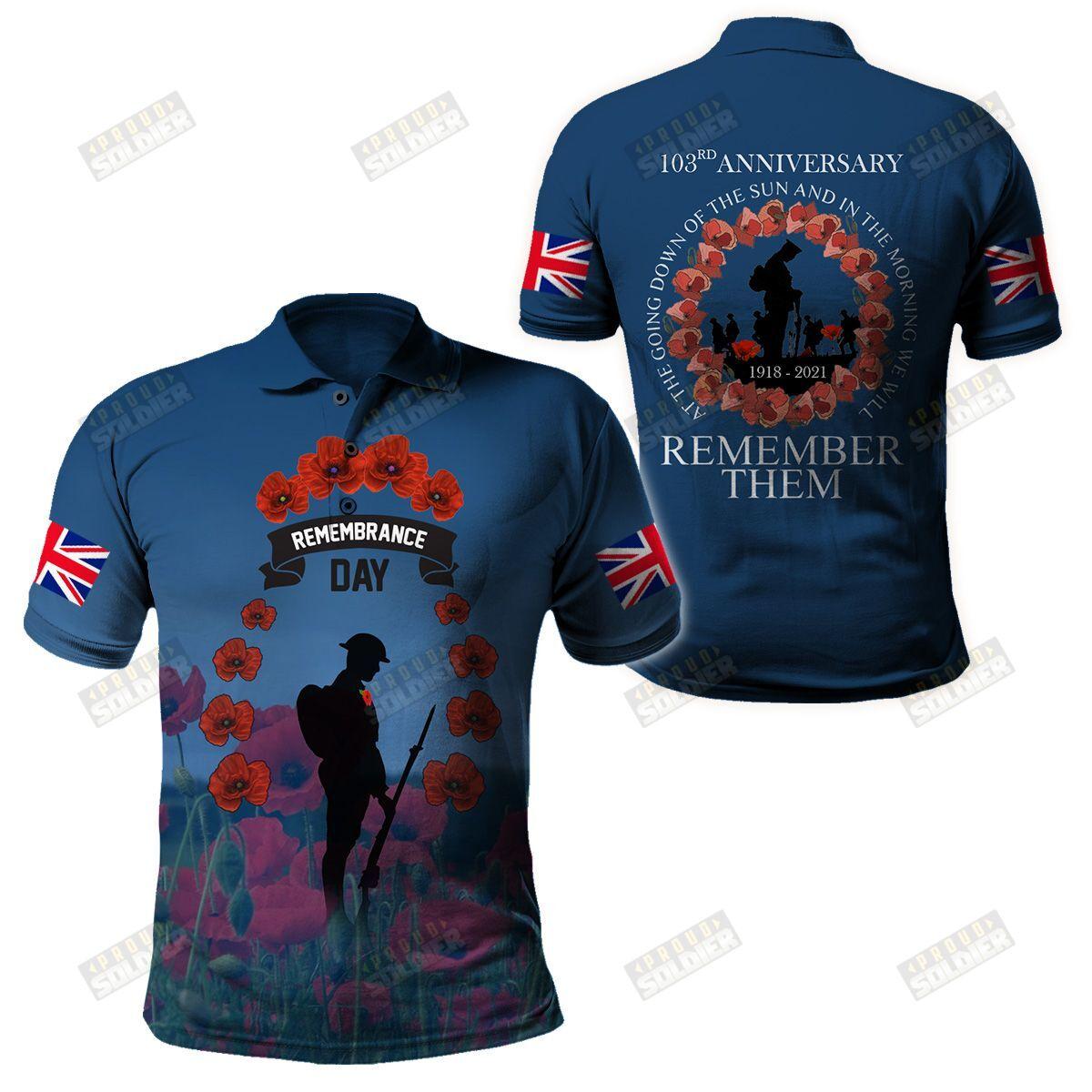 UK Veterans Remembrance Day Dark 3D shirt