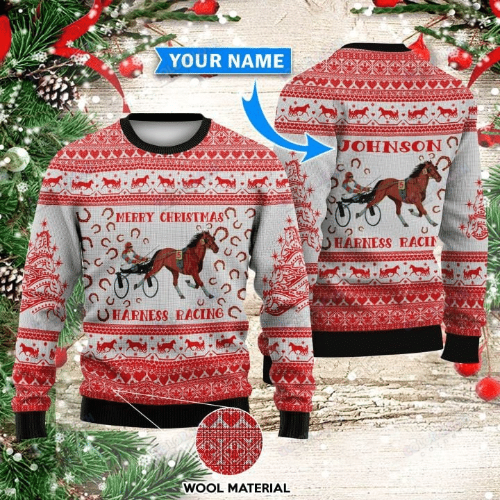 Personalized Harness Racing Christmas Sweater