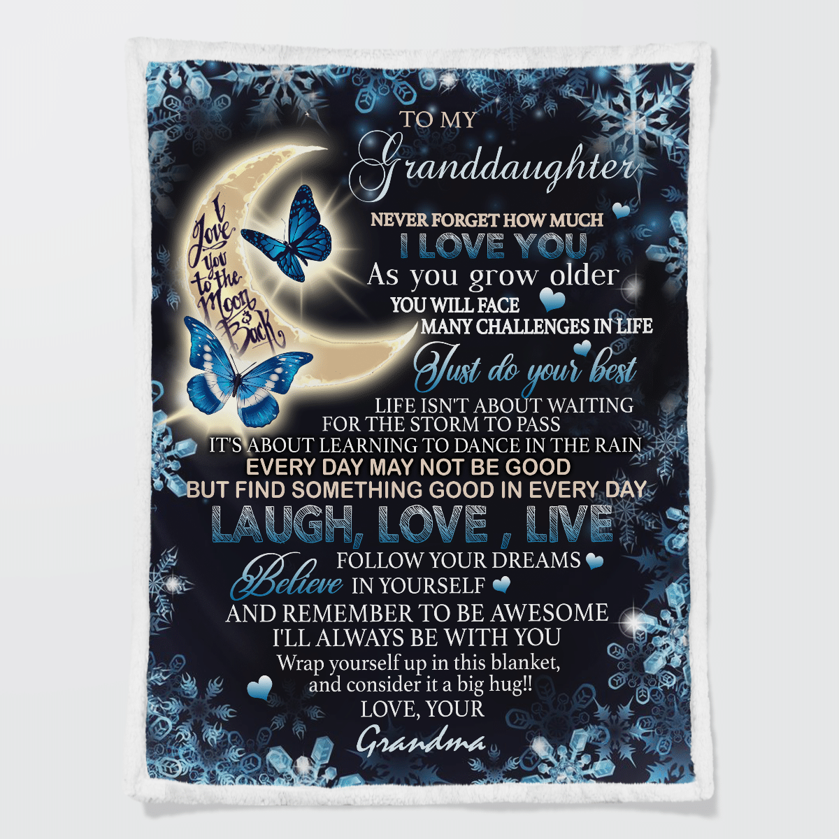 Love To Your Granddaughter To the moon and back butterfly blanket