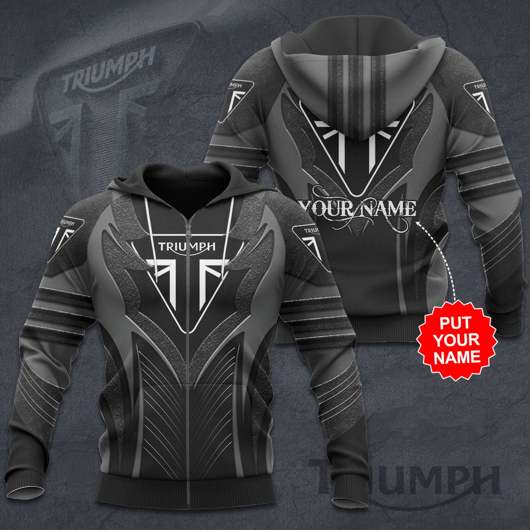 Personalized Triumph motorcycles black 3D Hoodie