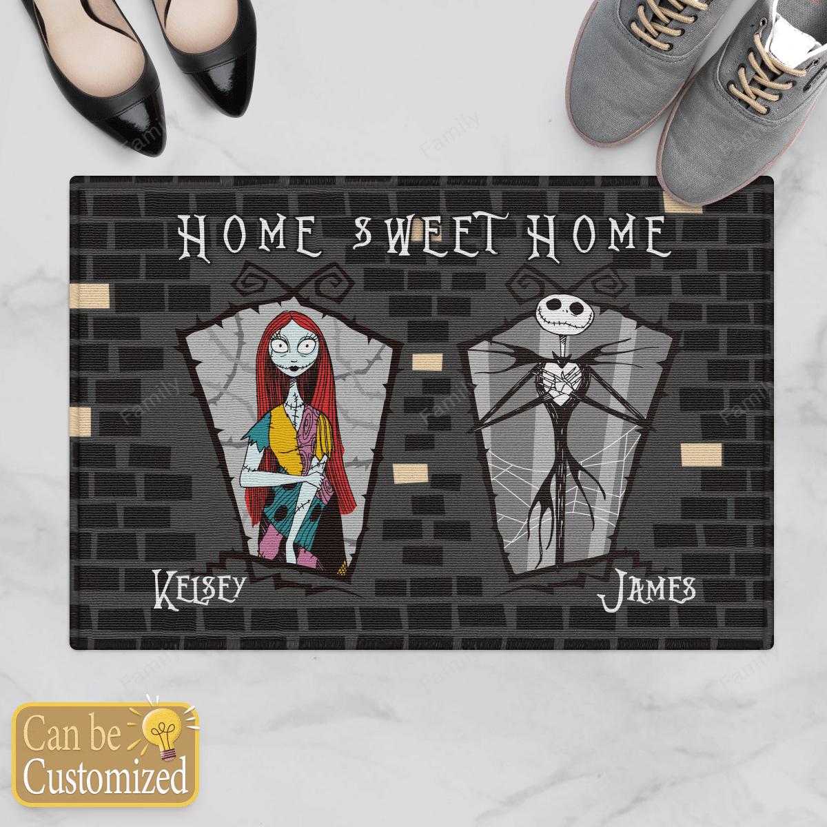 Personalized Nightmare couple Home Sweet Home Door Mat