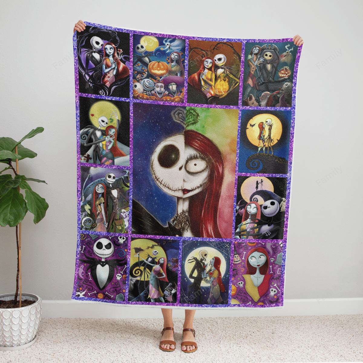 The Nightmare Couple Halloween Fleece Blanket