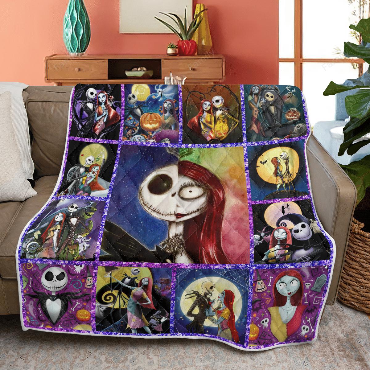 The Nightmare Couple Halloween Quilt Blanket