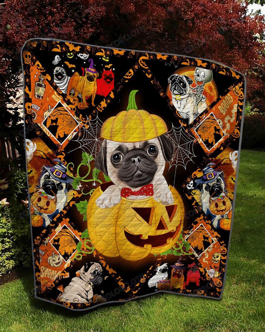 Love Pug Halloween Quilt Blanket