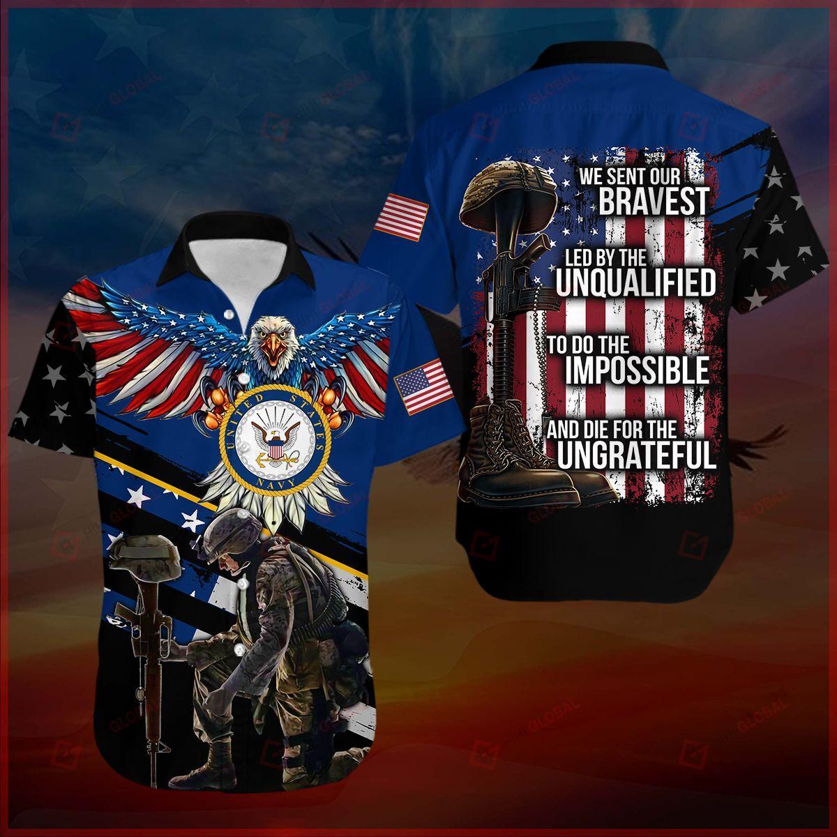 We sent our bravest Veteran Blue Hawaiian shirt