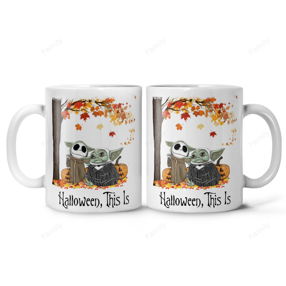 Halloween This Is Yoda Skellington Couple Mug