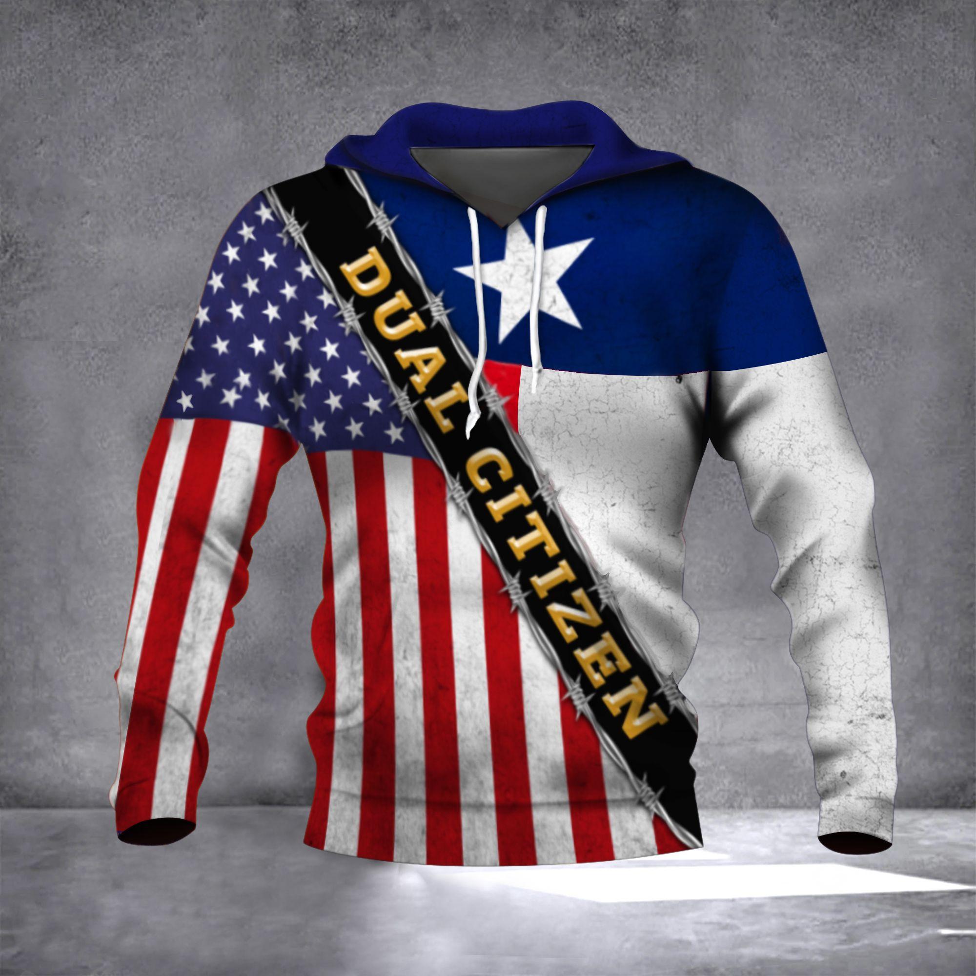 Texas Dual Citizen American Flag Hoodie 3D