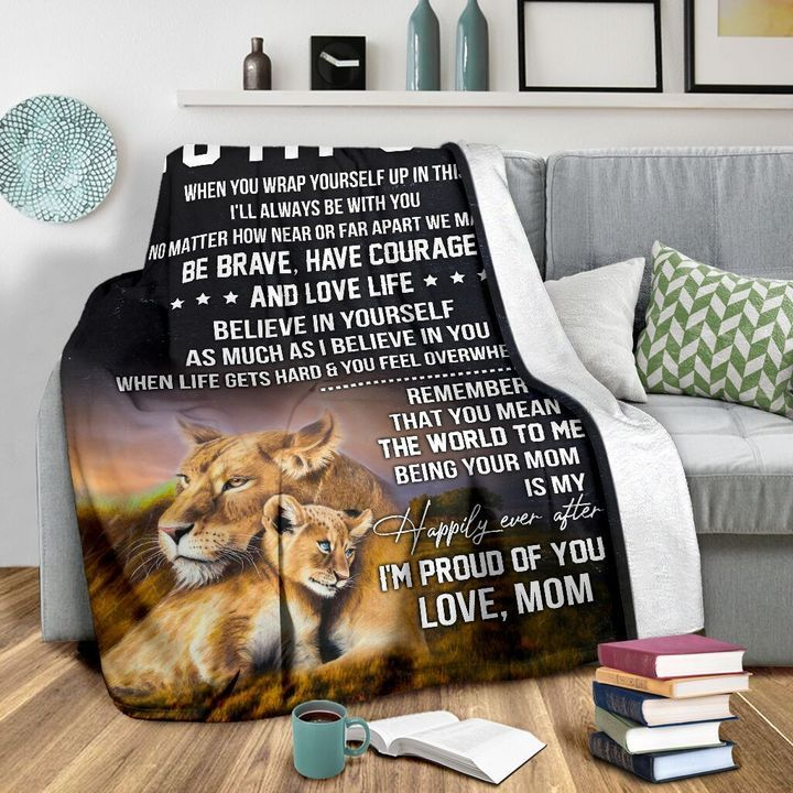 TO MY SON MOM LOVE LIONS BLANKET