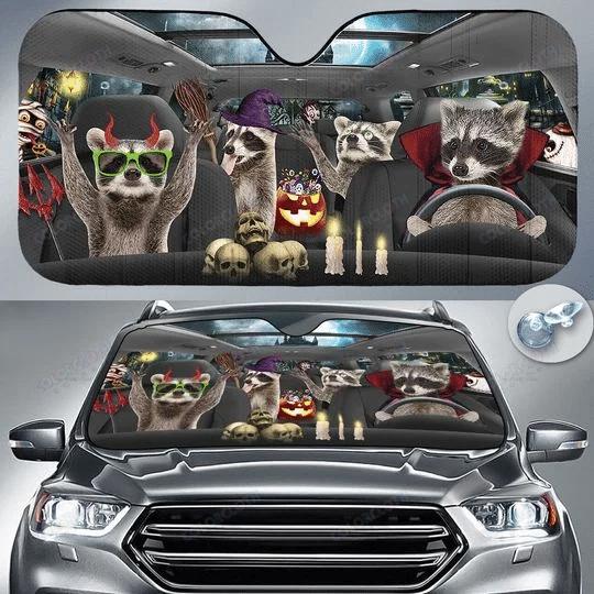 Raccoon Lovers Halloween Time Car Auto Sunshade