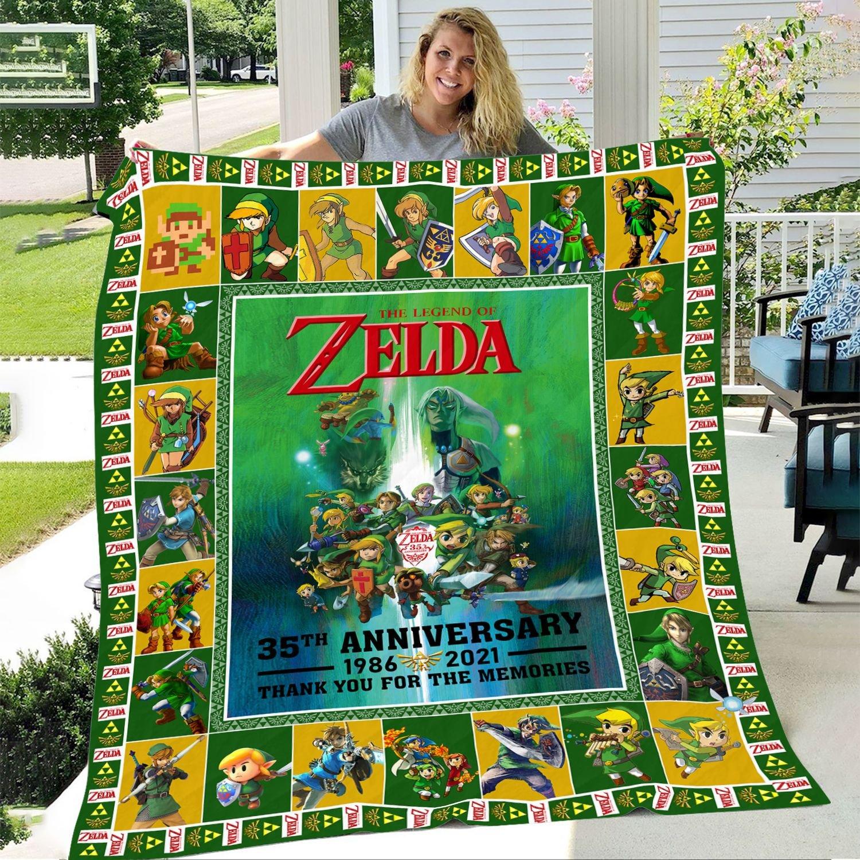 The Legends of Zelda 35th Anniversary Thank You For The Memories Fleece Blanket