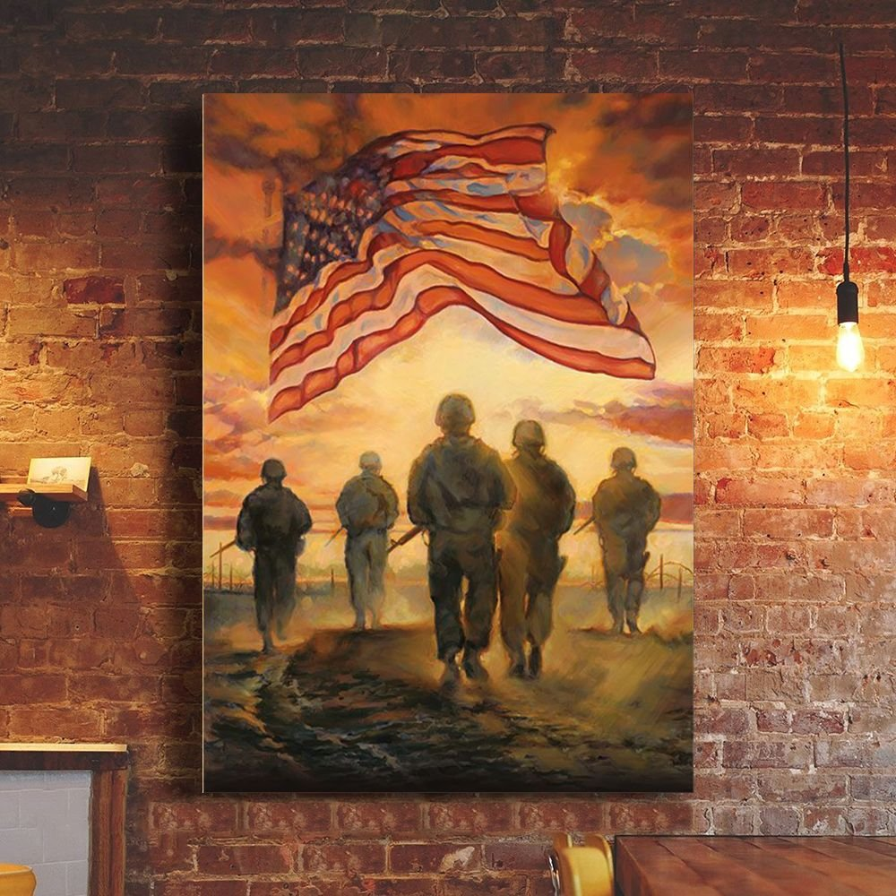 God Bless Our Troops Poster USA Flag Patriotic Wall Decor Veteran Day 2021 Gift Ideas