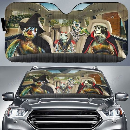 Turtle Family Witches Halloween Car Sunshade