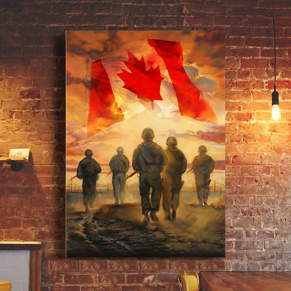 God Bless Canada's Heroes Soldiers Poster Patriotic Honoring Our Soldier Veterans