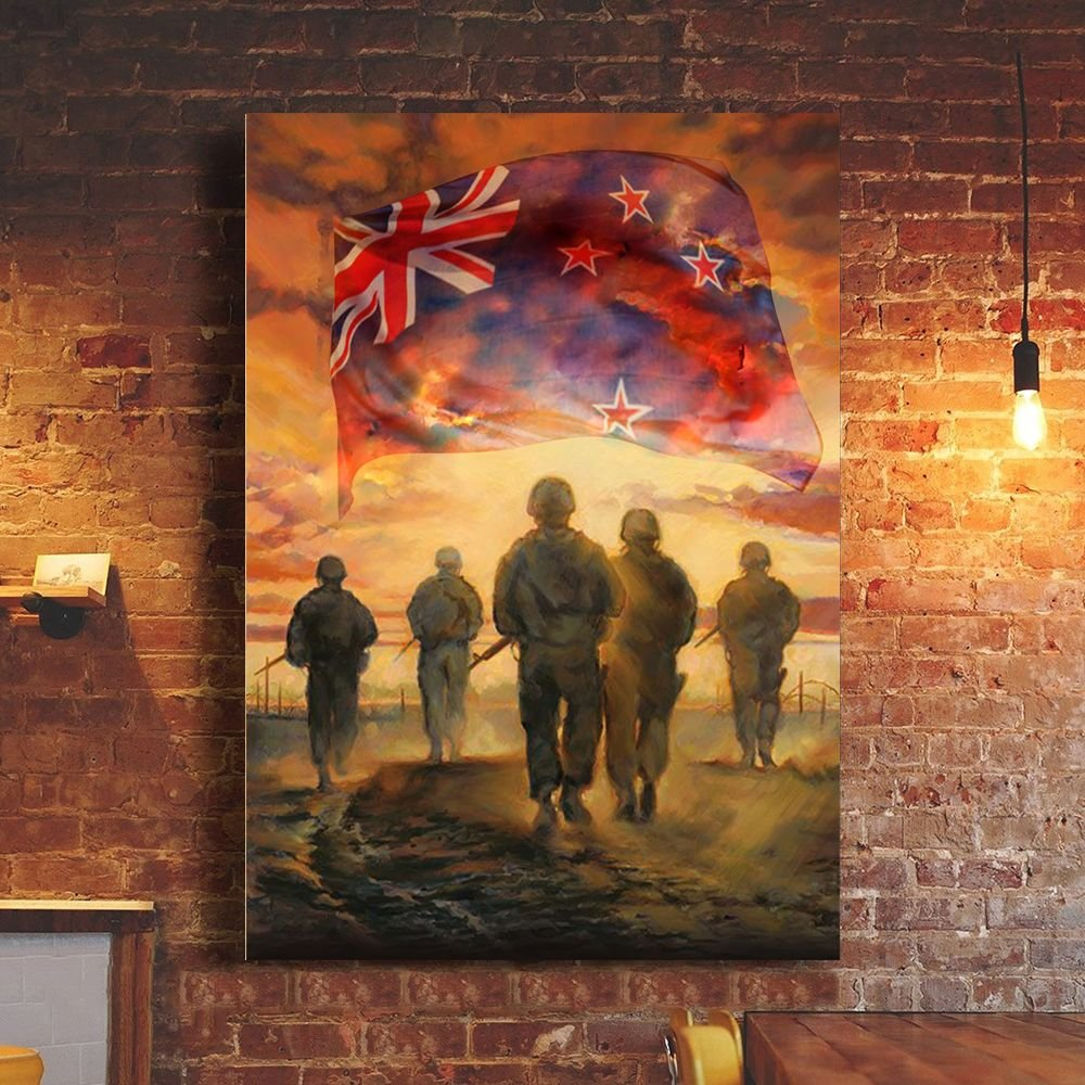 God Bless New Zealand's Heroes Soldiers Poster Patriotic Honor Veterans Remembrance Day