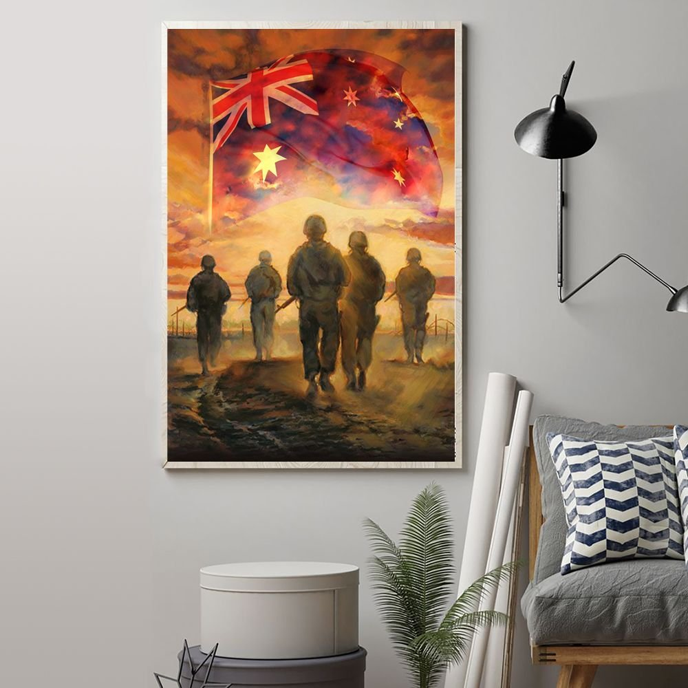 God Bless Australia's Heroes Soldiers Poster Australian Flag Honor Veterans Remembrance Day
