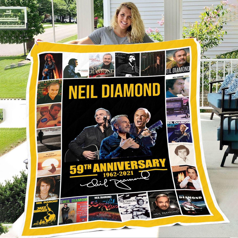 NEIL DIAMOND 59TH ANNIVERSARY 1962-2021 SIGNATURE Fleece BLANKET