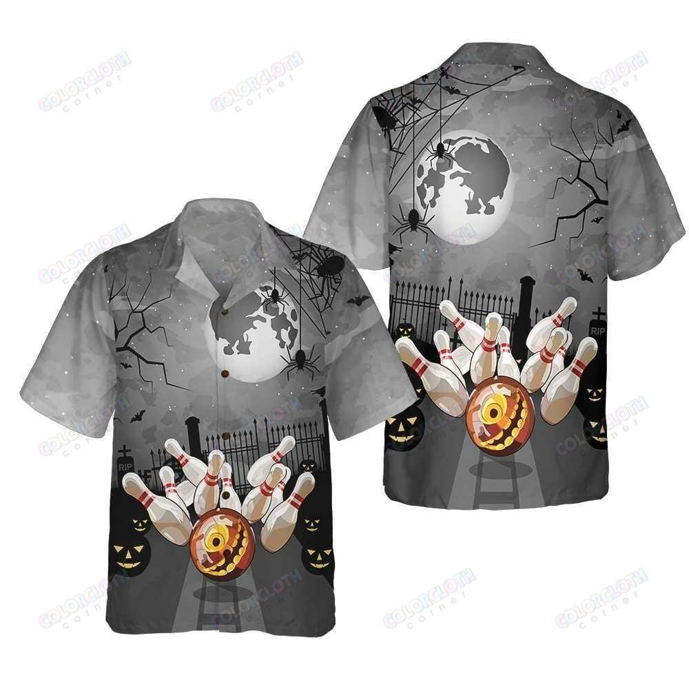 Pin Bowling Halloween Big Moon Hawaiian Shirt