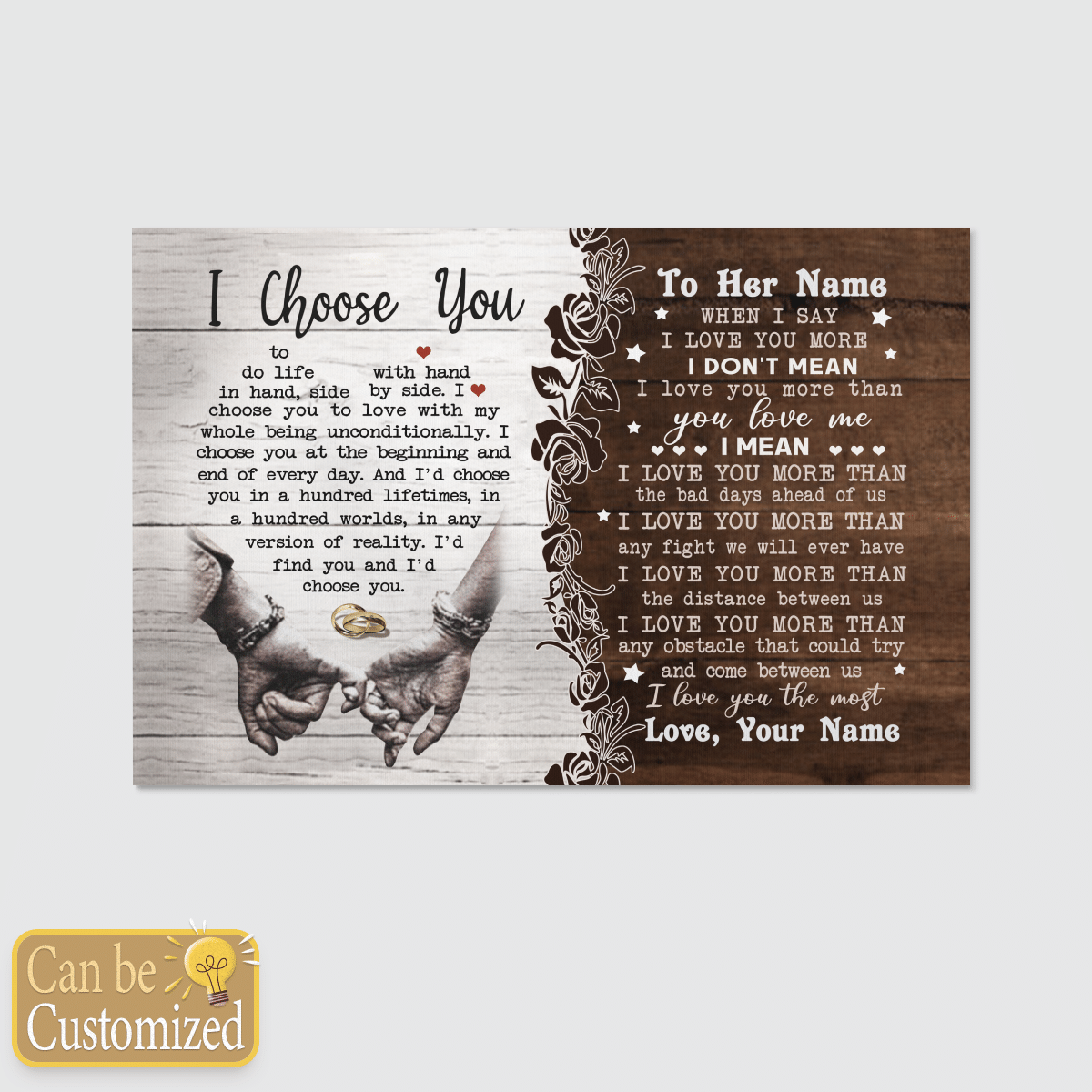 I LOVE YOU THE MOST RING HANDS SPECIAL GIFT FOR WIFE POSTER