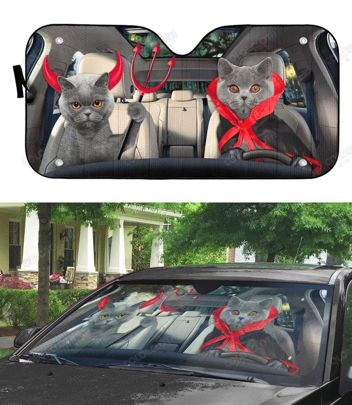 Halloween British Shorthair Cats Vampire Car Auto Sunshade